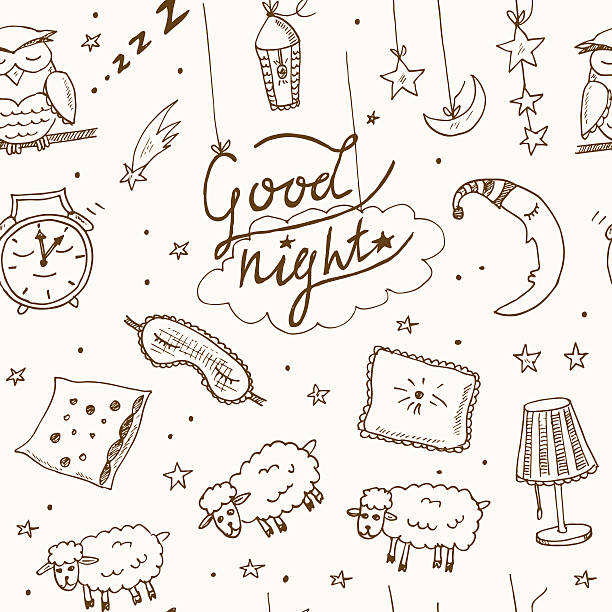 doodle seamless pattern with images about good night - bedtime story stock illustrations