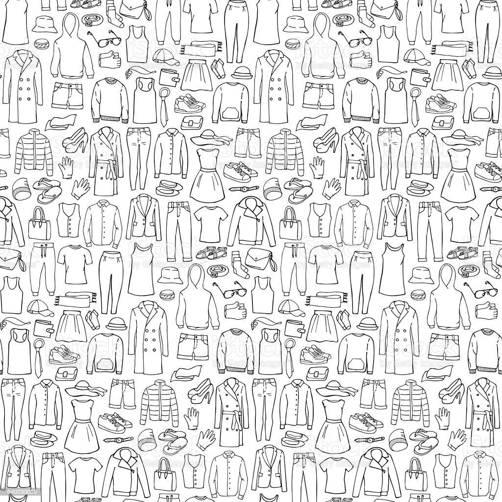 Ilustración de Garabato Sin Costura Patrón Con Ropa De Hombre Y ...