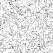 Doodle seamless pattern with man and woman clothes