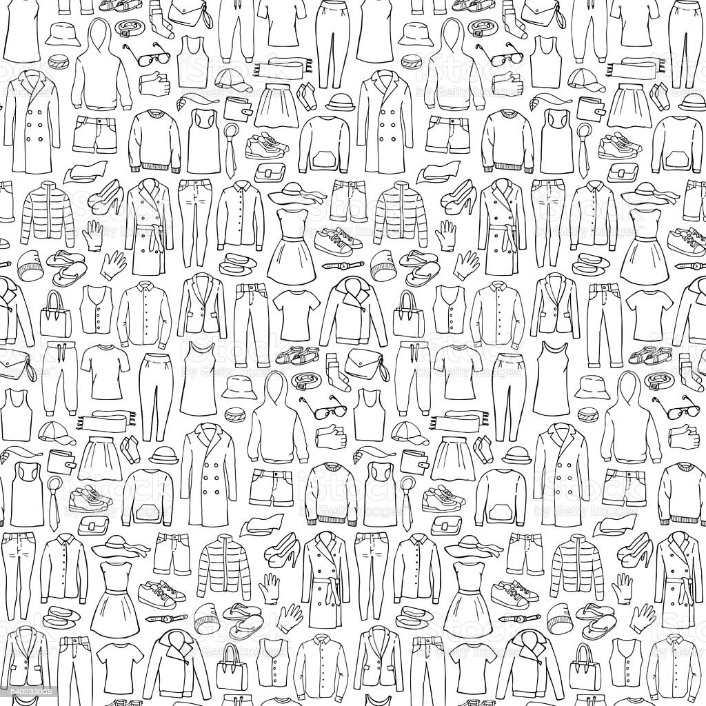 Doodle, nahtlose Muster mit Mann und Frau Kleidung – Vektorgrafik