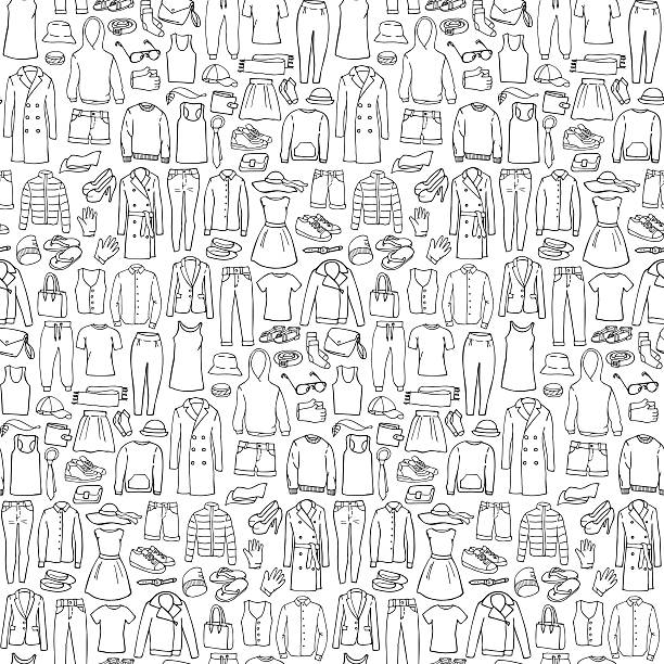 doodle seamless pattern with man and woman clothes - shoes fashion stock illustrations, clip art, cartoons, & icons
