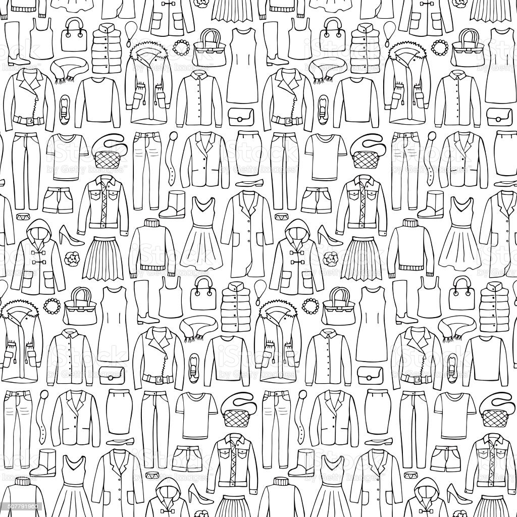 doodle seamless pattern with woman clothes stock vector art more 1960s Hair doodle seamless pattern with woman clothes royalty free doodle seamless pattern with woman clothes stock