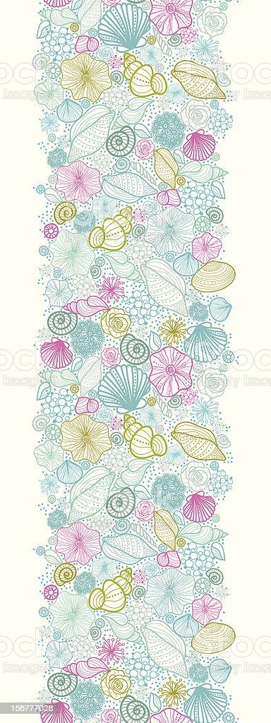 Doodle Seashells Vertical Seamless Pattern Border royalty-free stock vector art