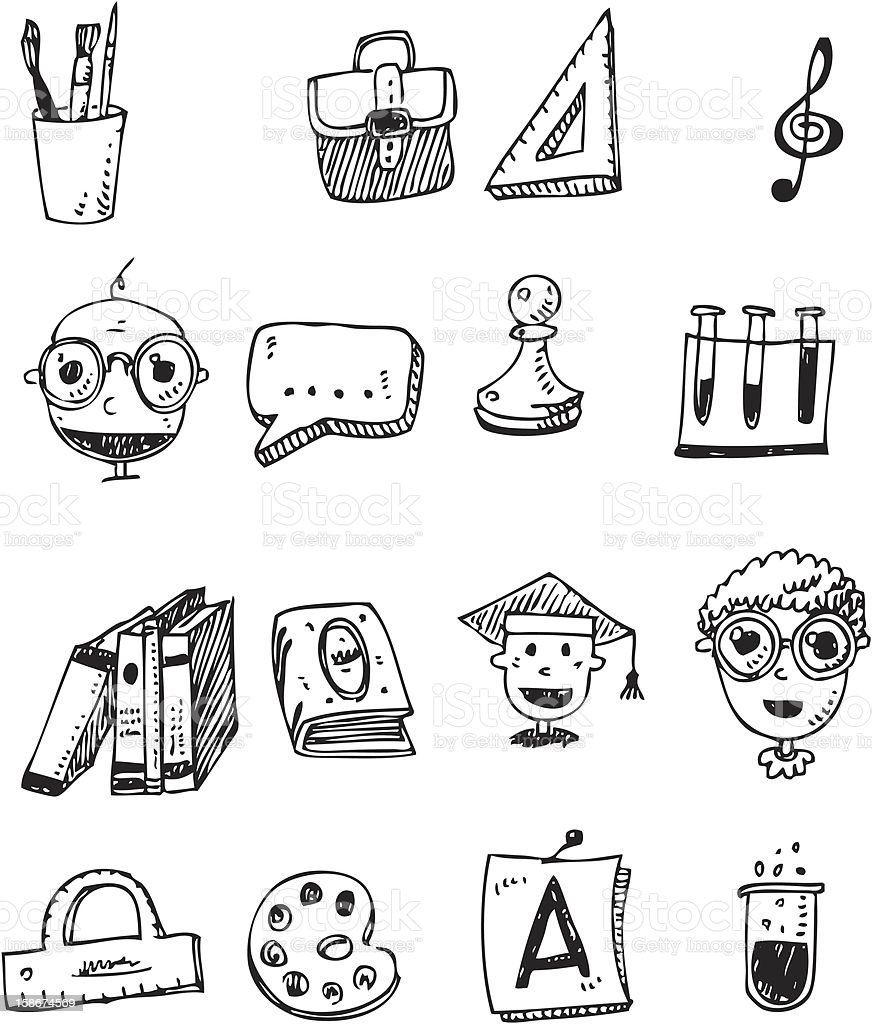 doodle set - back to school royalty-free stock vector art