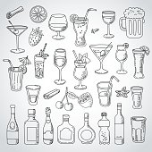 doodle food icons, kitchen, hand drawn, Vector illustration. White background