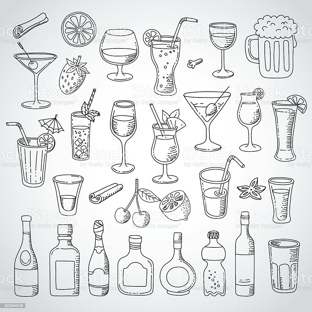 doodle set cocktail and drink vector art illustration