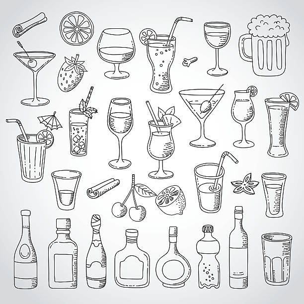 doodle set cocktail and drink - alcohol drink drawings stock illustrations