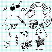 istock Doodle set elements on paper. Arrow, heart, love, star, leaf, paper airplanes, glasses, music note, for concept design. 1265133041