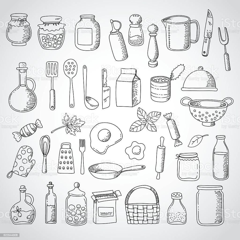 doodle set  food and Kitchen Utensils vector art illustration