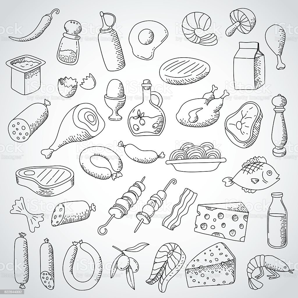 doodle set food and meat vector art illustration