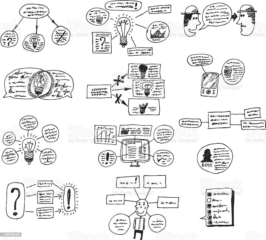 doodle set - graphics, diagrams and schemes royalty-free doodle set graphics diagrams and schemes stock vector art & more images of asking