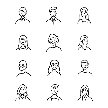 Doodle set of avatar office workers, cheerful people, hand-drawn icon style, character design, vector illustration.