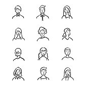 istock Doodle set of avatar office workers, cheerful people, hand-drawn icon style, character design, vector illustration. 1181162376