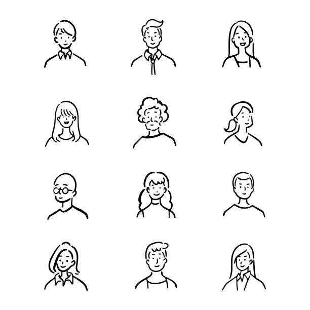 Doodle set of avatar office workers, cheerful people, hand-drawn icon style, character design, vector illustration. Doodle set of avatar office workers, cheerful people, hand-drawn icon style, character design, vector illustration. cartoon people stock illustrations