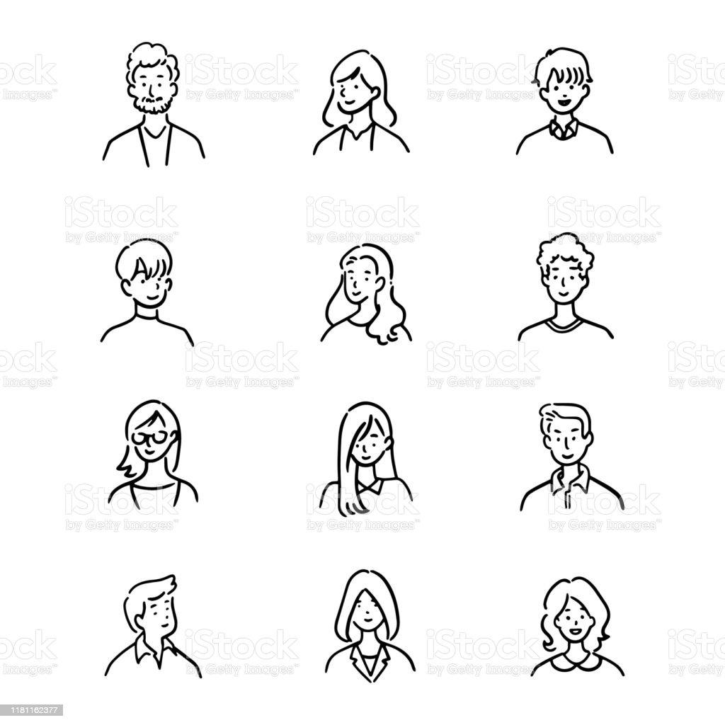 ●アバターオフィスワーカーの落書きセット、陽気な人、手描きのアイコンスタイル、キャラクターデザイン、ベクトルイラスト。 - あごヒゲのロイヤリティフリーベクトルアート