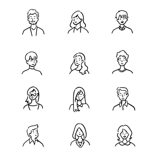 ●アバターオフィスワーカーの落書きセット、陽気な人、手描きのアイコンスタイル、キャラクターデザイン、ベクトルイラスト。 - イラスト点のイラスト素材/クリップアート素材/マンガ素材/アイコン素材