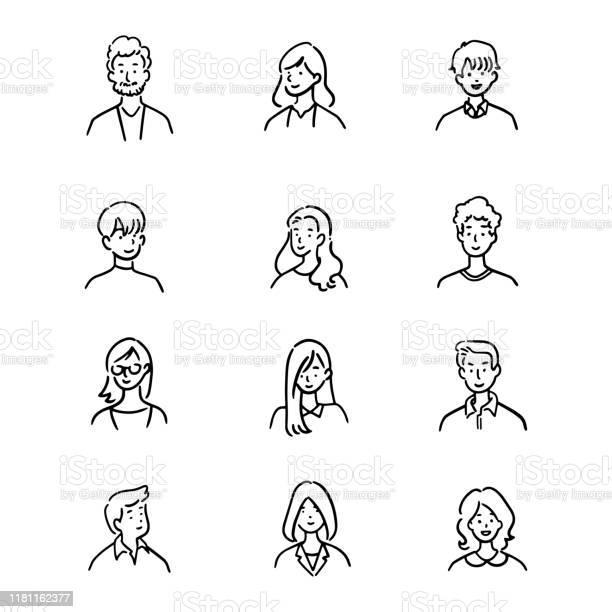 アバターオフィスワーカーの落書きセット陽気な人手描きのアイコンスタイルキャラクターデザインベクトルイラスト - あごヒゲのベクターアート素材や画像を多数ご用意