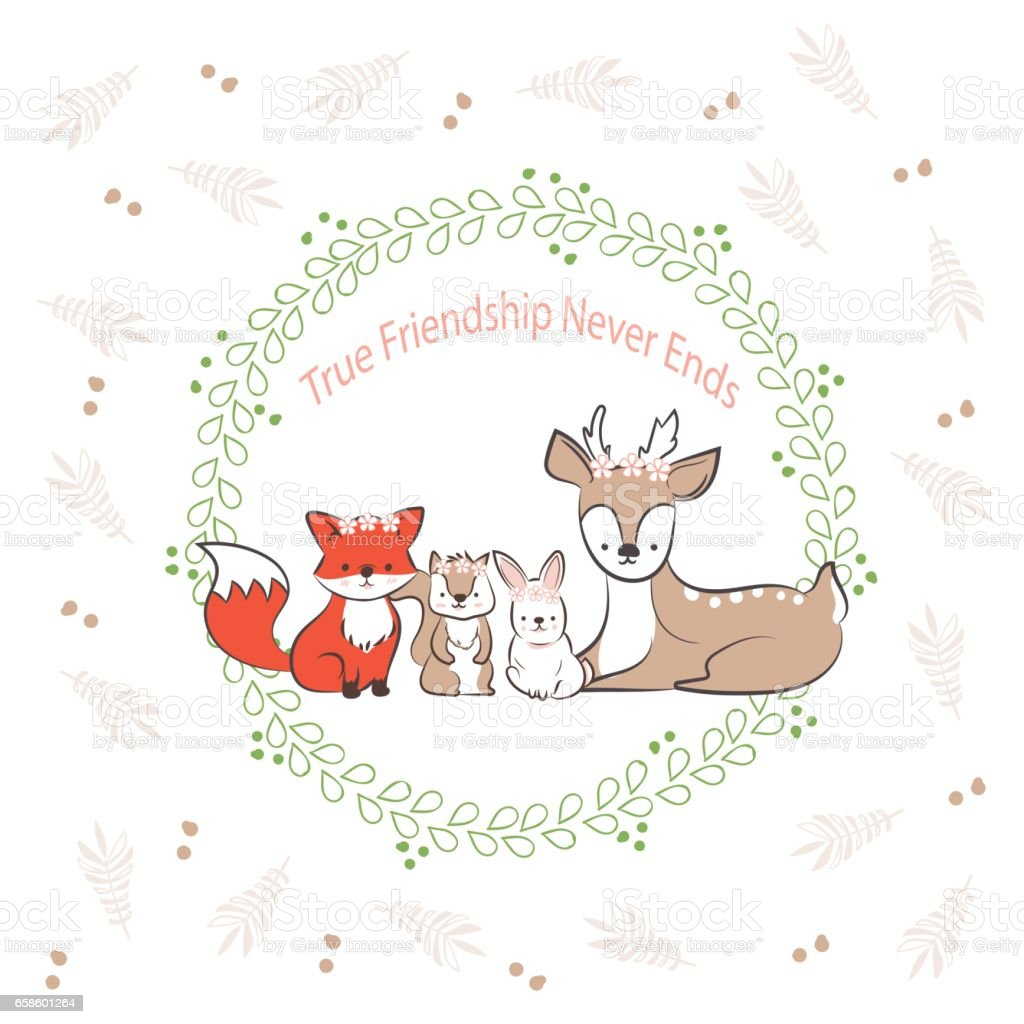 Doodle Set Of Best Friends Cute Rabbit Fox Squirrel And Deer In Leaf