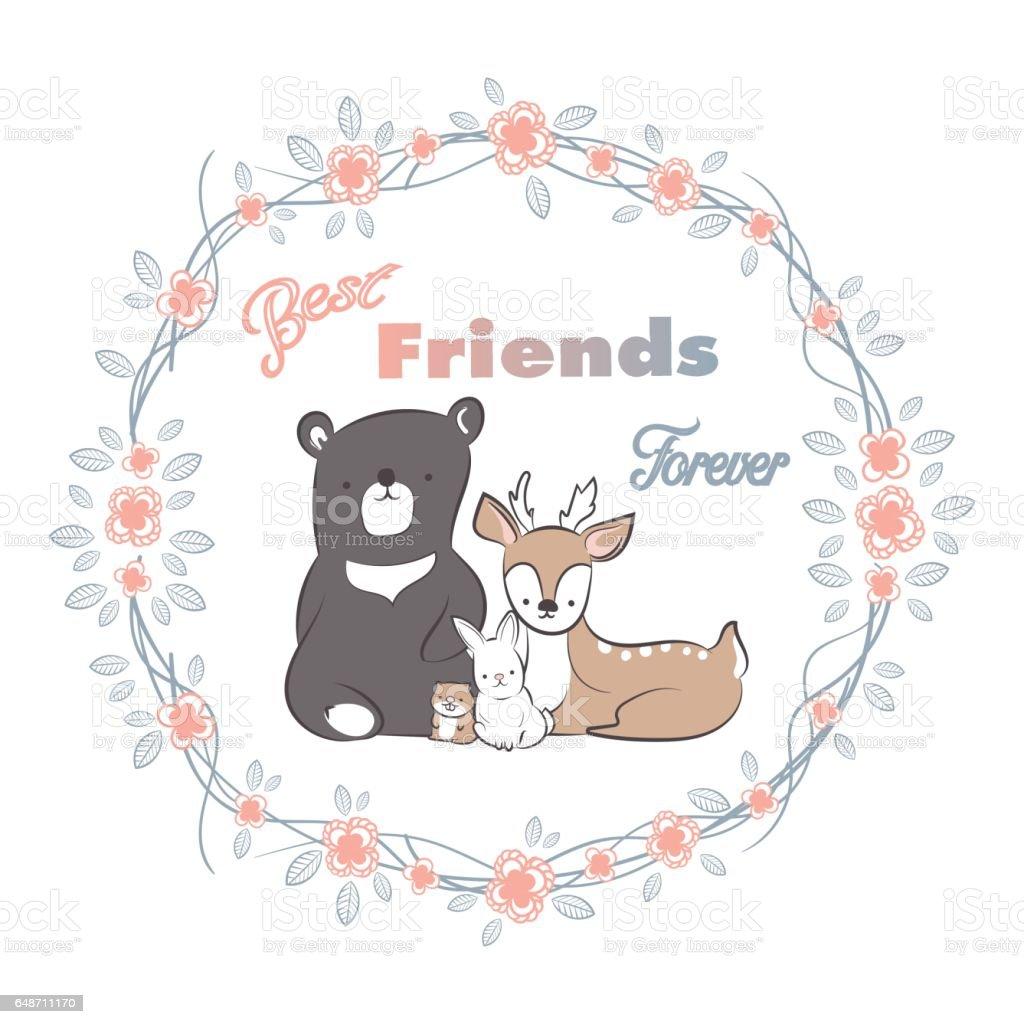 Doodle Set Of Best Friends Forever Cute Deer Bear Rabbit And Beaver ...