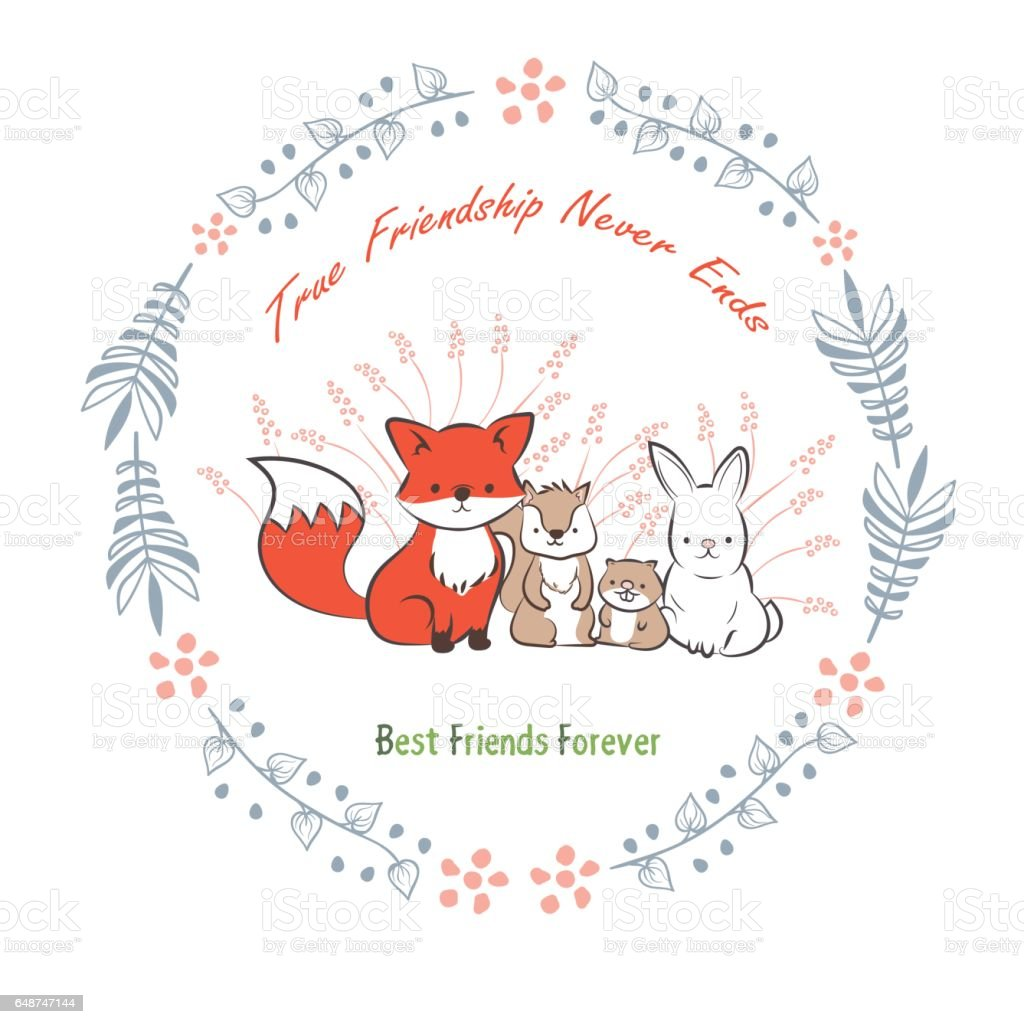 Doodle Set Of Best Friends Forever Cute Rabbit Squirrel Fox And