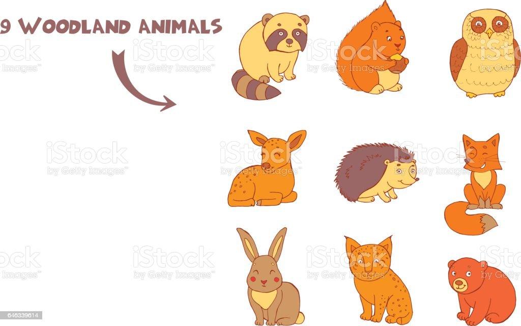Ilustración de Doodle Conjunto De Dibujos Animados Cute Color ...