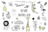 Doodle set of cute tropical animals lion, monkey, elephant, giraffe, flamingo, bird, snake, butterfly and leaves isolated on white. Vector.