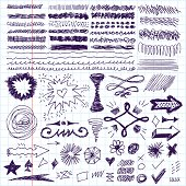 Doodle set of hand drawn strokes, text correction and highlighting.