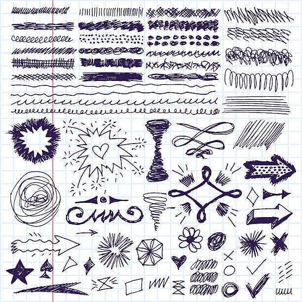 ilustraciones, imágenes clip art, dibujos animados e iconos de stock de conjunto de doodle dibujados a mano trazos, texto y corrección de relieve. - marcos de garabatos y dibujados a mano