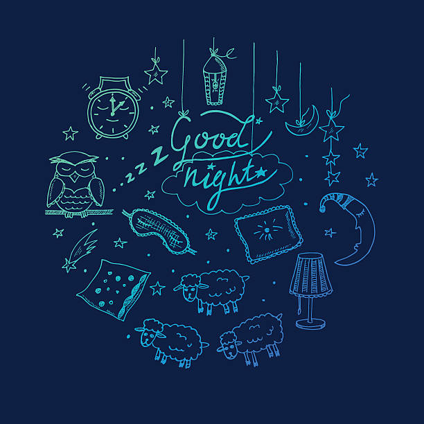 doodle set of images about good night - bedtime story stock illustrations