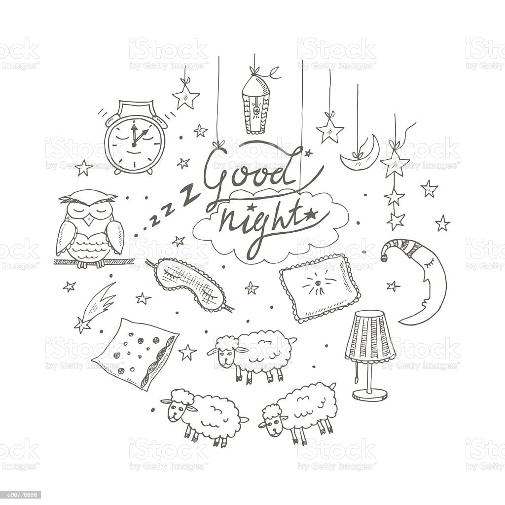 Doodle set of images about good night vector art illustration