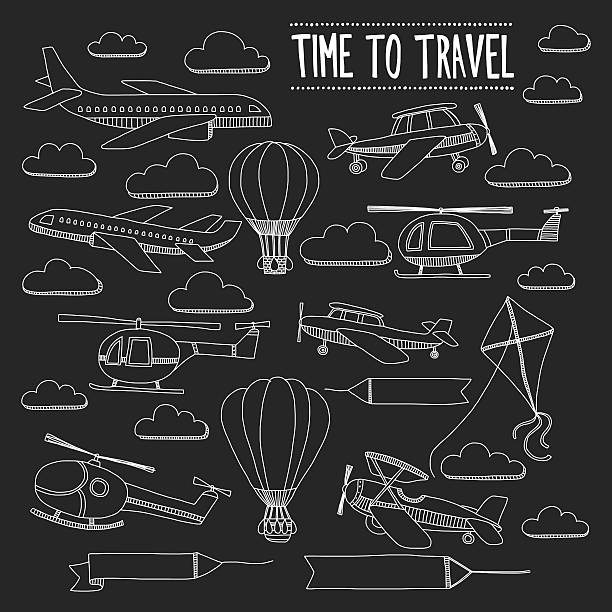 Doodle set of images Time to travel vector art illustration