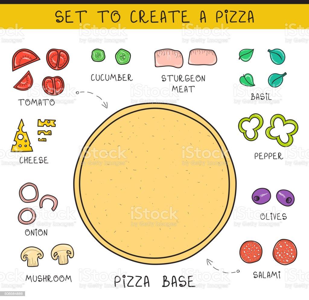 Ilustración de Doodle Conjunto De Ingredientes Para Construir Pizza ...