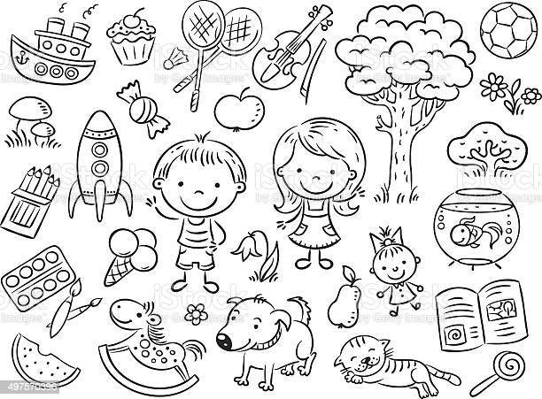 Doodle set of objects from a childs life vector id497570396?b=1&k=6&m=497570396&s=612x612&h=xcpn156h s tq1vxfghwdlo42kqj8lkbhxr006pf7go=