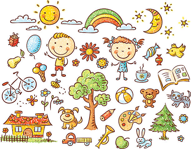 Doodle set of objects from a child's life vector art illustration