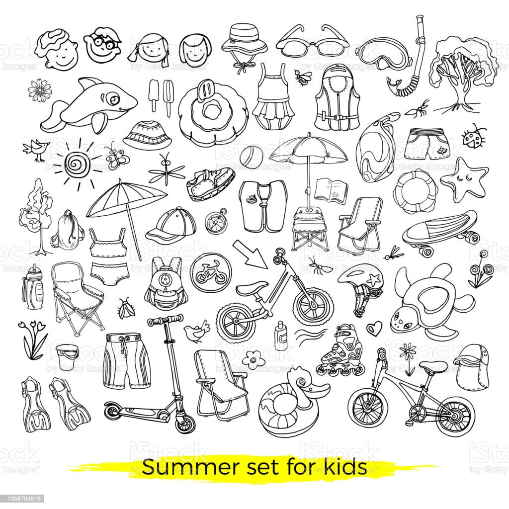 Doodle set of sporting, swimming goods for kids. Vector icons...