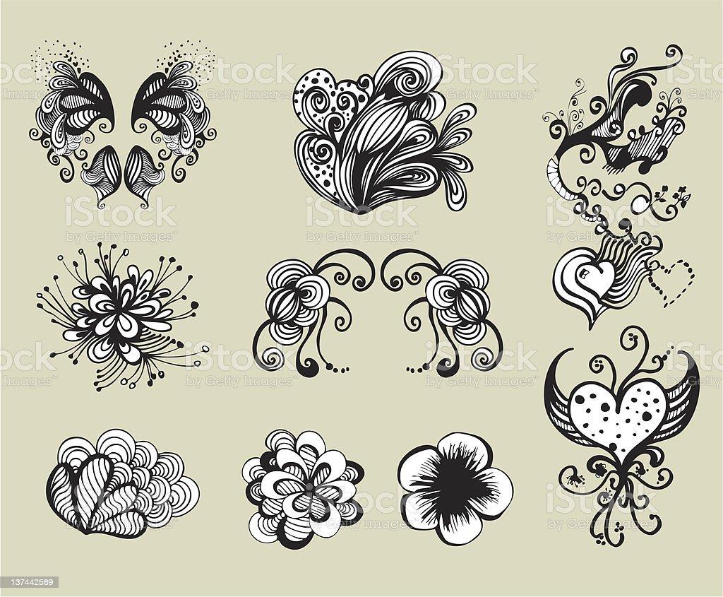 Doodle Set vector art illustration