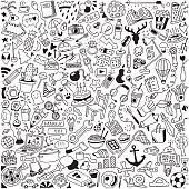huge hand-drawn doodle set