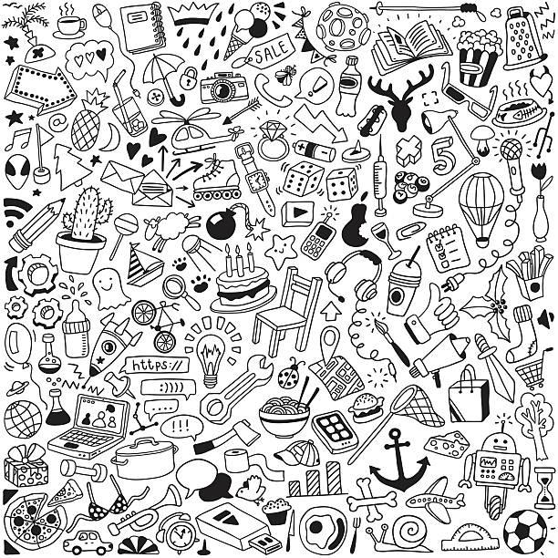 doodle set - firmenweihnachtsfeier stock-grafiken, -clipart, -cartoons und -symbole