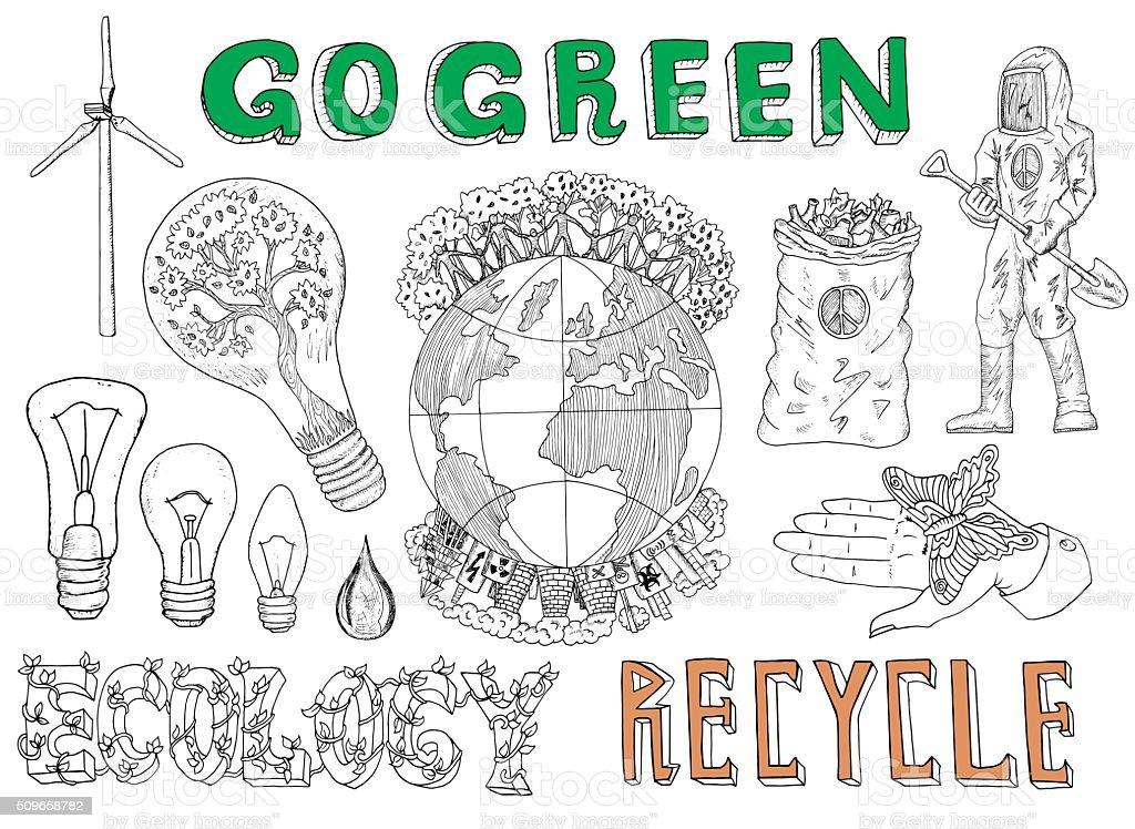 Doodle ensemble d'ampoules fluorescentes, Globe et Eco icônes - Illustration vectorielle
