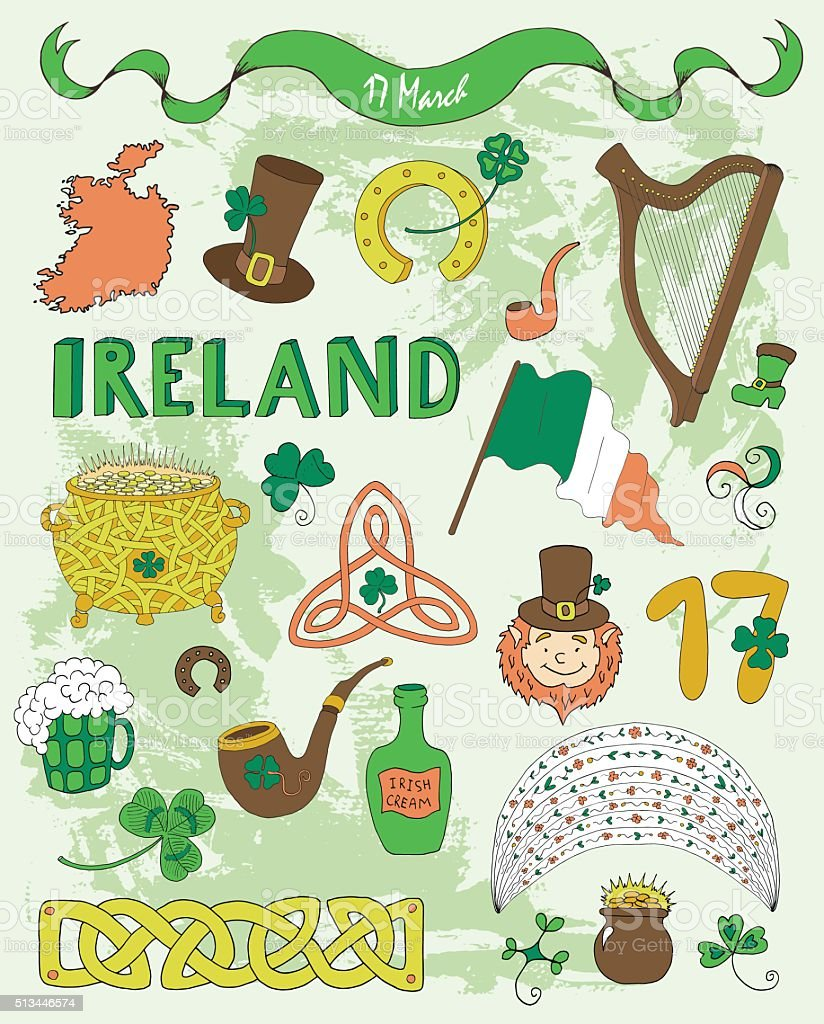 Doodle set with colorful icons for St. Patrick's Day vector art illustration