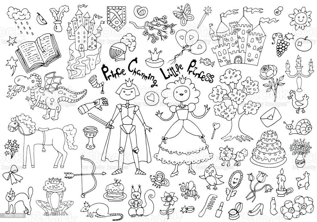 Doodle conjunto con príncipe real y princesa concepto y accesorios - ilustración de arte vectorial