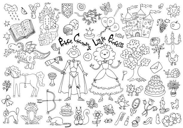 doodle set mit königlicher prinz und prinzessin konzept und zubehör - prince stock-grafiken, -clipart, -cartoons und -symbole