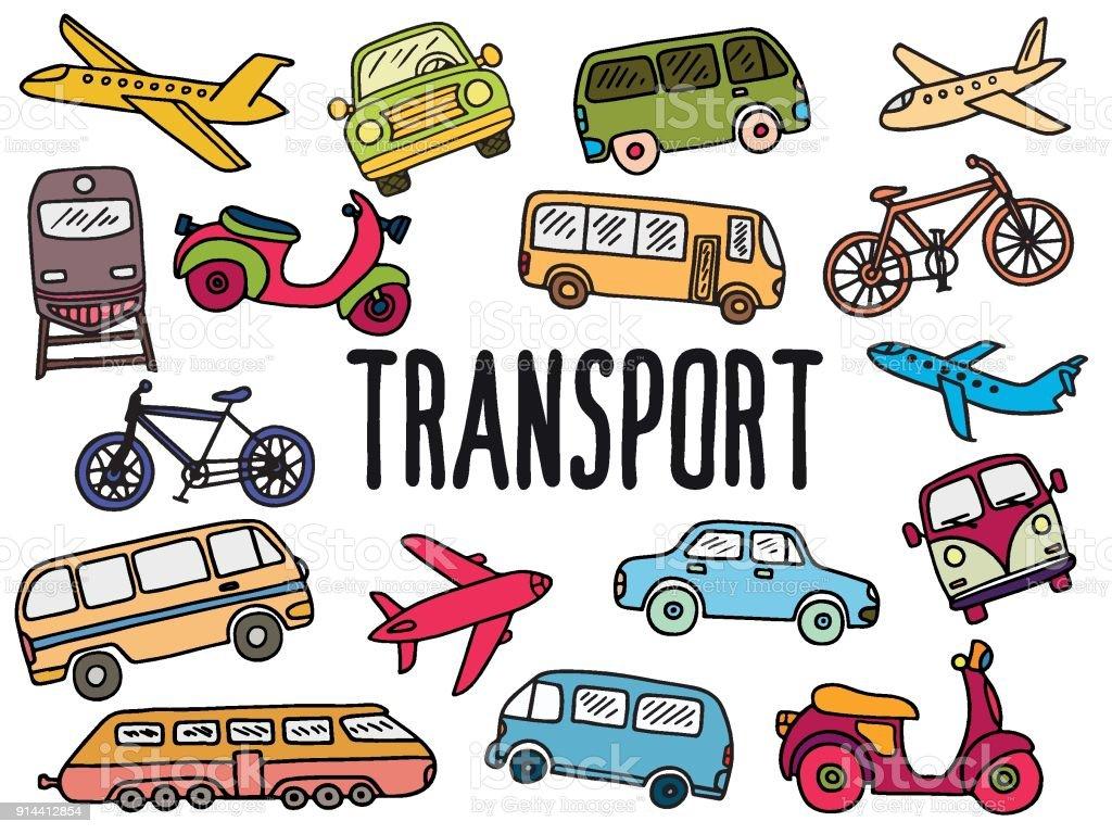 トランスポートと落書きセット ベクターアートイラスト