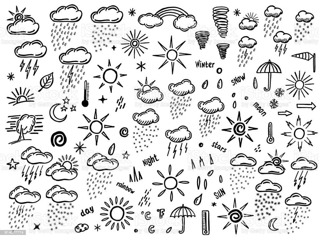 doodle set with weather element