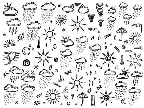 stockillustraties, clipart, cartoons en iconen met doodle set met weer element - regen zon