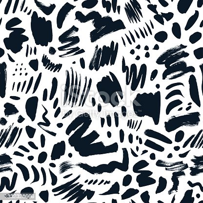 istock Doodle shapes and scratched lines seamless pattern. 1332328666