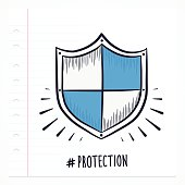 Vector doodle shield icon illustration with color, drawn on lined note paper.