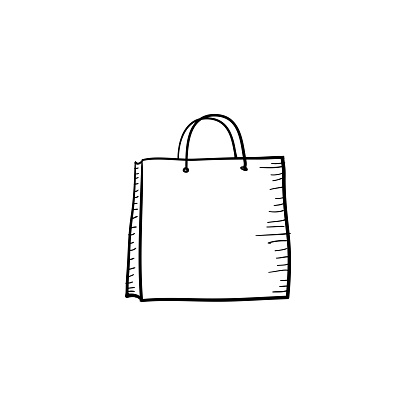doodle Shopping bag icon handdrawn cartoon style