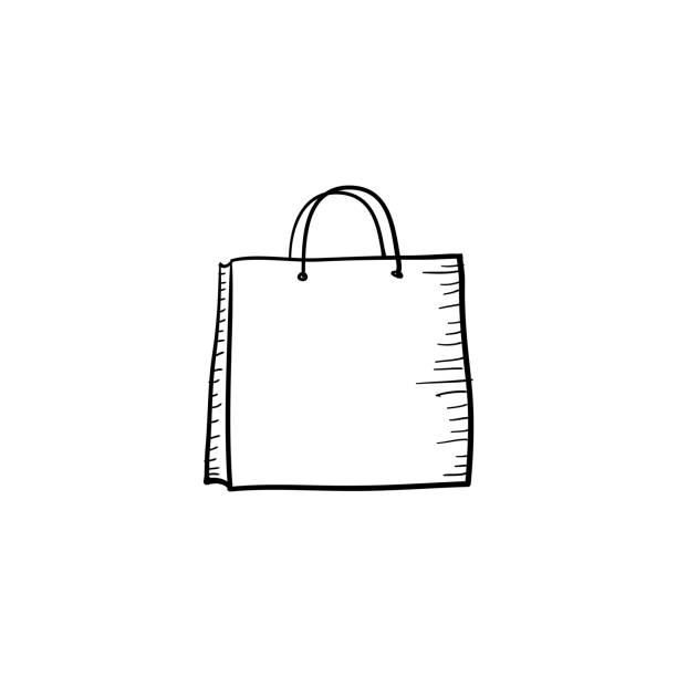 doodle Shopping bag icon handdrawn cartoon style doodle Shopping bag icon handdrawn cartoon style ethical consumerism stock illustrations