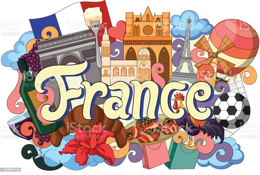 doodle showing architecture and culture of france stock Free Church Newsletter Clip Art Free Church Clip Art Black and White